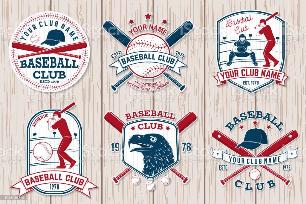 Set of baseball or softball club badge. Vector. Concept for shirt or...