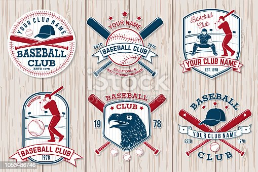 Set of baseball or softball club badge. Vector. Concept for shirt or , print, stamp or tee. Vintage typography design with baseball bats, batter hitting ball and ball for baseball silhouette.