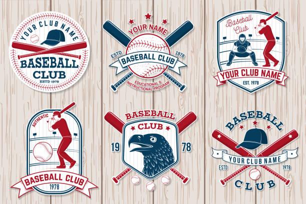 ilustraciones, imágenes clip art, dibujos animados e iconos de stock de juego de béisbol o softbol insignia del club. ilustración de vector. concepto para la camisa o, - béisbol