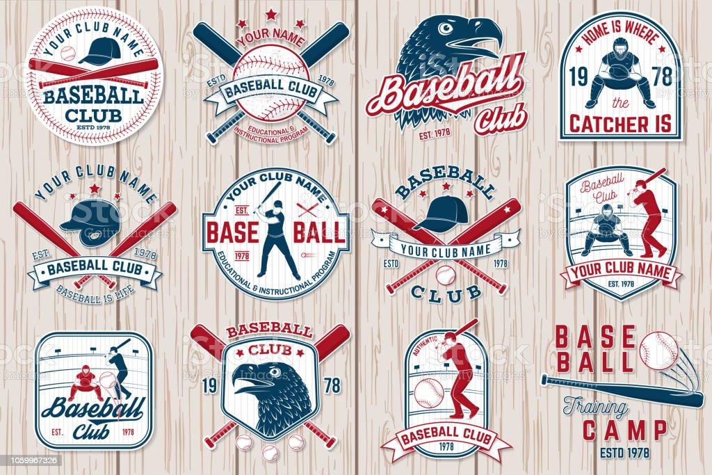 Set of baseball or softball club badge. Vector illustration. Concept for shirt or logo, vector art illustration