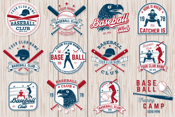 set of baseball or softball club badge. vector illustration. concept for shirt or logo, - softball stock illustrations, clip art, cartoons, & icons