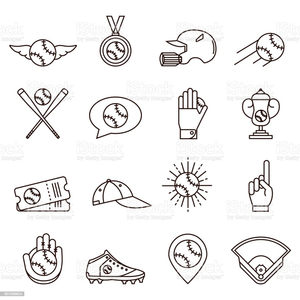 Set of baseball or softball line icons: helmet, medal, tickets, cup, cap, gloves and other equipment, apparel and gear. Collection of base ball symbols and signs in thin outline style. vector art illustration