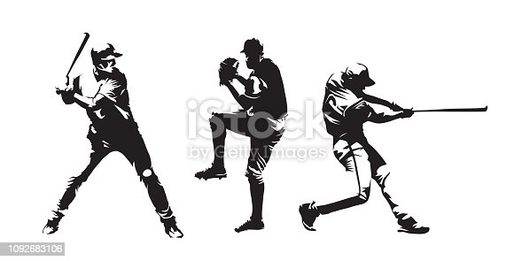 Set of baseball players vector silhouettes. Group of baseballer, isolated ink drawings
