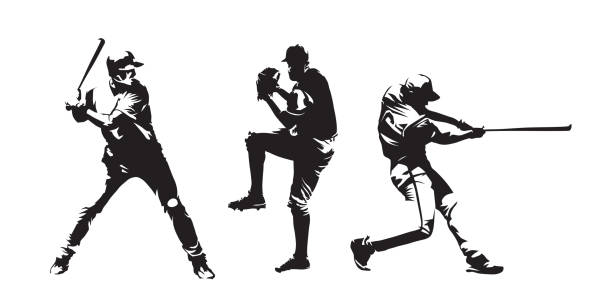 Set of baseball players vector silhouettes. Group of baseballer, isolated ink drawings vector art illustration