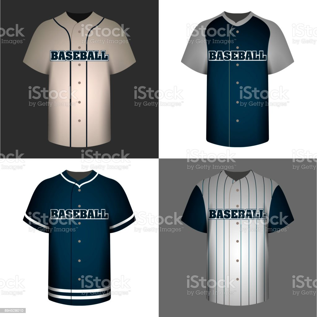 Set of baseball shirts vector art illustration
