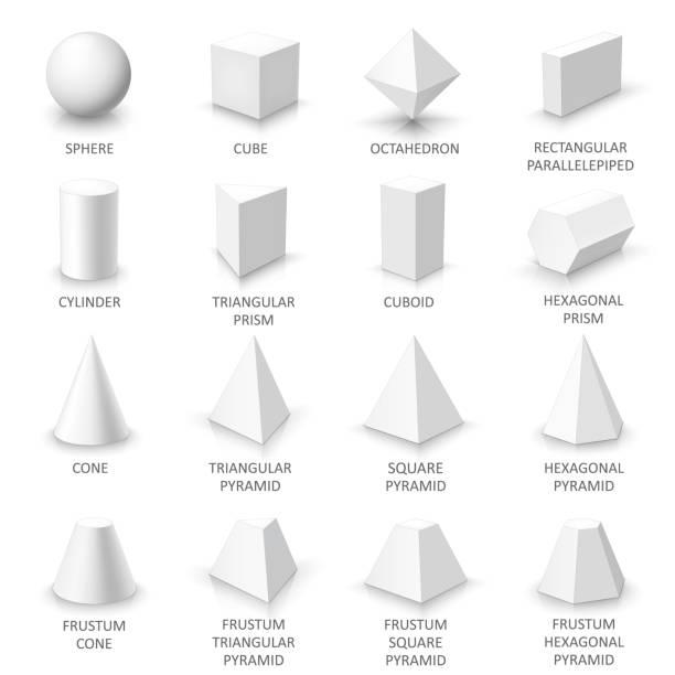 illustrations, cliparts, dessins animés et icônes de ensemble de formes 3d de base - état solide