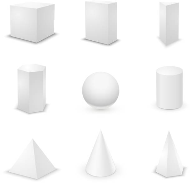Set of basic elementary geometric shapes Set of nine basic elementary geometric shapes, blank 3d primitives isolated on white cylinder stock illustrations