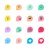 Set of basic emoticons reactions