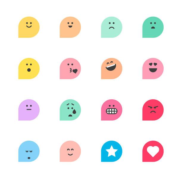 ilustrações, clipart, desenhos animados e ícones de conjunto de reações básicas emoticons - smile