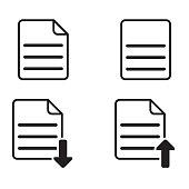 Set of basic paper or document icon on white background (Vector illustration)