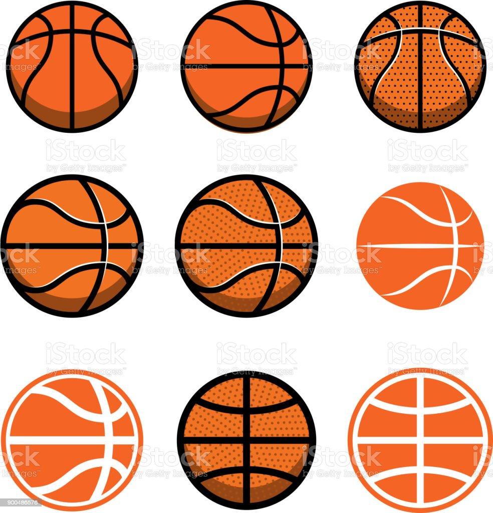 Juego de bolas de baloncesto aislado sobre fondo blanco. Elemento de diseño de cartel, etiqueta, emblema, signo, camiseta. ilustración de juego de bolas de baloncesto aislado sobre fondo blanco elemento de diseño de cartel etiqueta emblema signo camiseta y más vectores libres de derechos de arte libre de derechos
