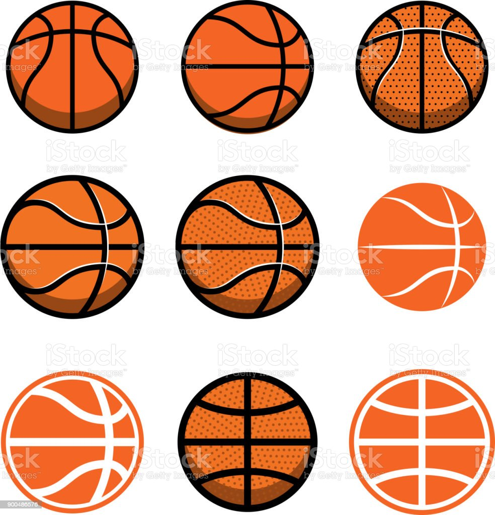 Set of basketball balls isolated on white background. Design element for poster, label, emblem, sign, t shirt.