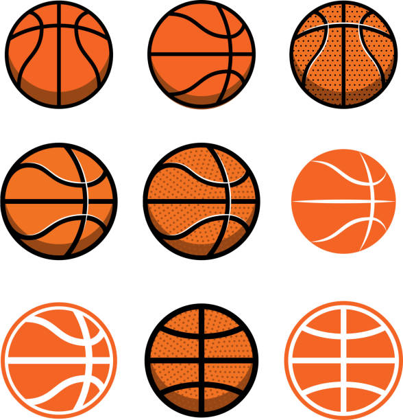Set of basketball balls isolated on white background. Design element for poster, label, emblem, sign, t shirt. Set of basketball balls isolated on white background. Design element for poster, label, emblem, sign, t shirt. Vector illustration basketball stock illustrations