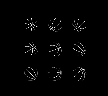 Set of basketball balls with different rotation angles. Vector 3d