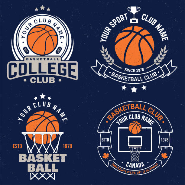 Set of basketball club badge. Vector. Graphic design for t-shirt, tee, print or apparel. Vintage typography design with basketball hoop and ball silhouette. Set of basketball club badge. Vector illustration. Graphic design for t-shirt, tee, print or apparel. Vintage typography design with basketball hoop and ball silhouette. basketball hoop stock illustrations