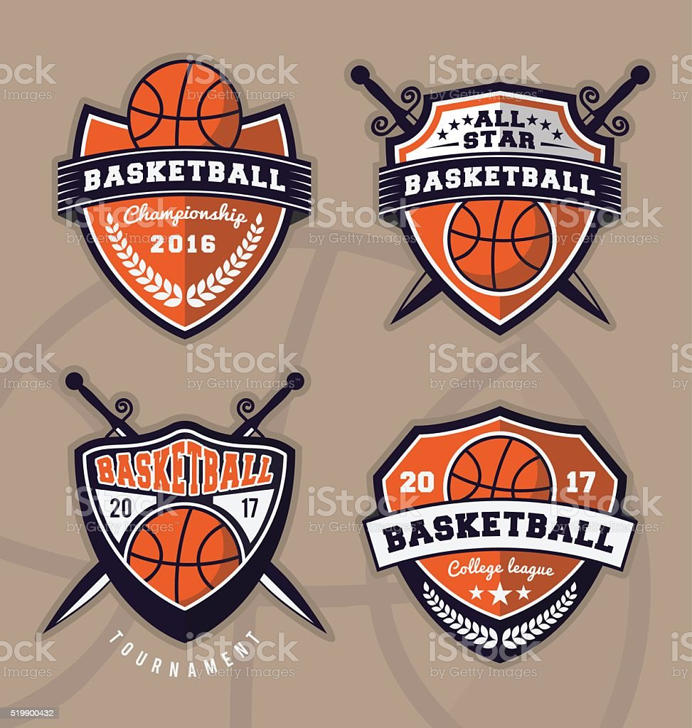 Set of basketball logo design vector art illustration