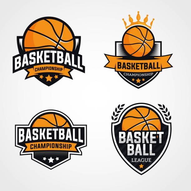 stockillustraties, clipart, cartoons en iconen met set van basketbal logo's embleem en badges identiteit - kampioenschap