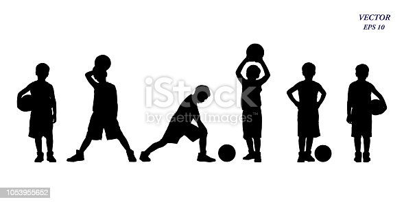 istock Set of basketball players silhouette of kids. Isolated on white background. 1053955652