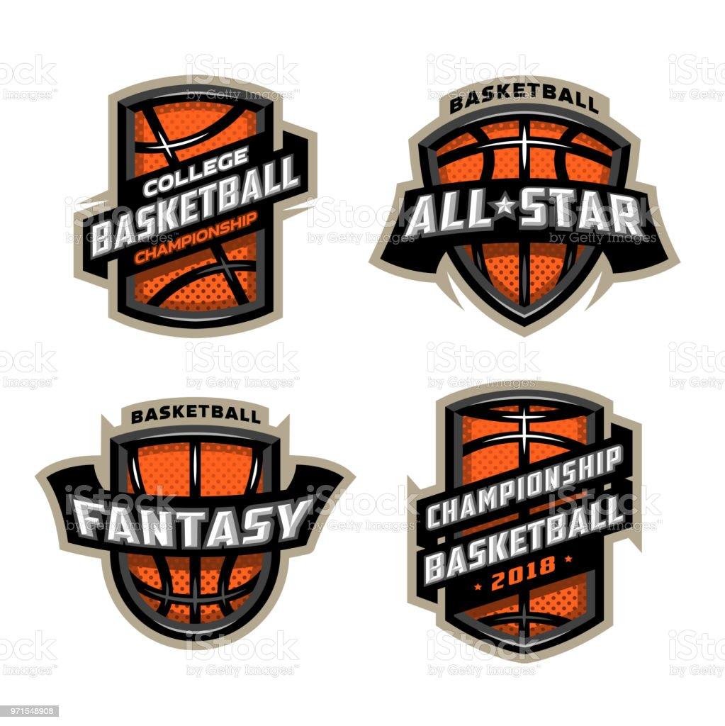Juego de insignias de baloncesto deportes. ilustración de juego de insignias de baloncesto deportes y más vectores libres de derechos de arte libre de derechos