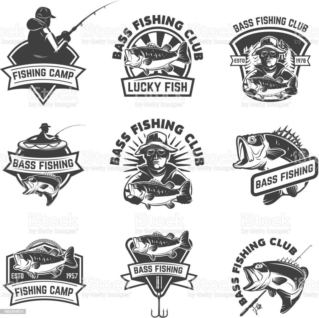 Set of bass fishing emblem templates isolated on white background. Design elements for label, sign. Vector illustration векторная иллюстрация