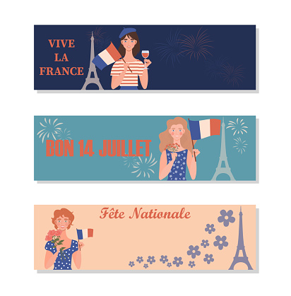 Set of Bastille Day banners with girls holding the flag of France.
