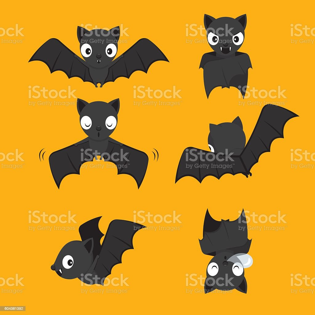 Set Of Bat Cartoon With Different Actions vector art illustration