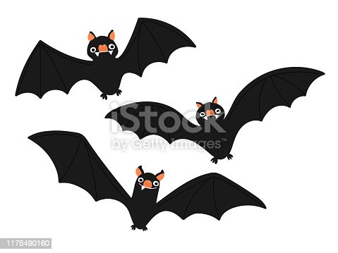Set of bat illustrations. Perfectly usable for all spooky halloween projects.