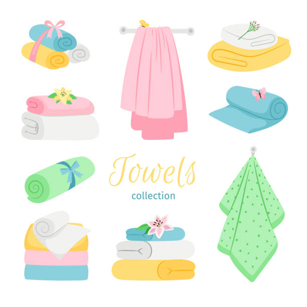 Set of bath colored towels. Roll and pile vector art illustration