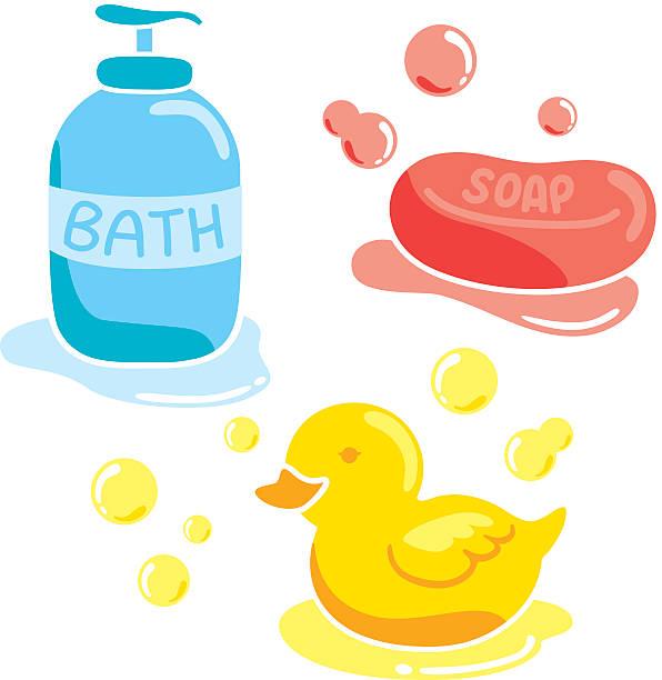 set of bathroom accessories vector art illustration