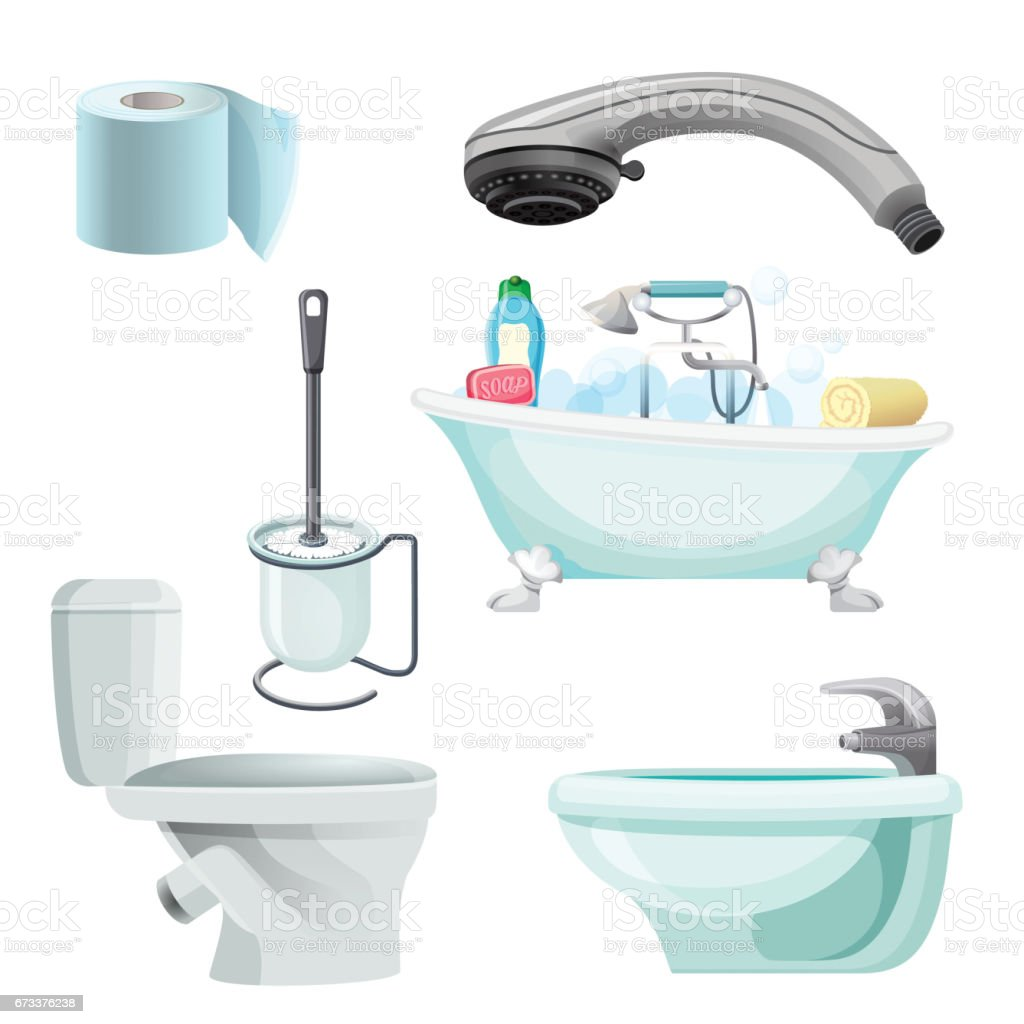 Charmant Set Of Bathroom Equipment Realistic Vector Illustration. Bidet, Toilet, Bath  Royalty Free