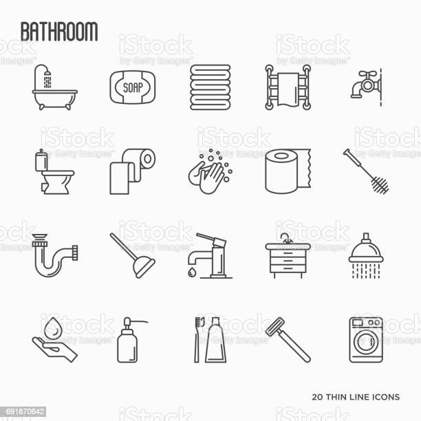 Set of bathroom equipment thin line icons vector illustration hygiene vector id691870642?b=1&k=6&m=691870642&s=612x612&h=ogwfdodlqq62l2yugy6 fnt37b c ky84lhs88esy3m=
