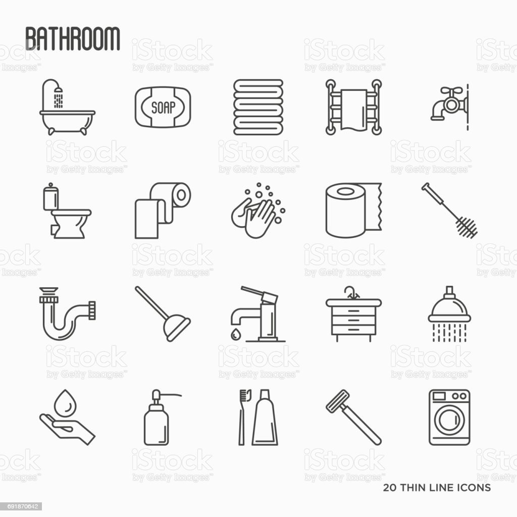 Set of bathroom equipment thin line icons. Vector illustration. Hygiene, purity, beauty, plumber related icons. vector art illustration