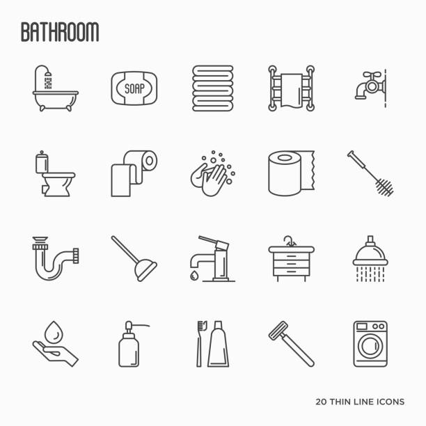 Set of bathroom equipment thin line icons. Vector illustration. Hygiene, purity, beauty, plumber related icons. Set of bathroom equipment thin line icons. Vector illustration. Hygiene, purity, beauty, plumber related icons. bathroom symbols stock illustrations
