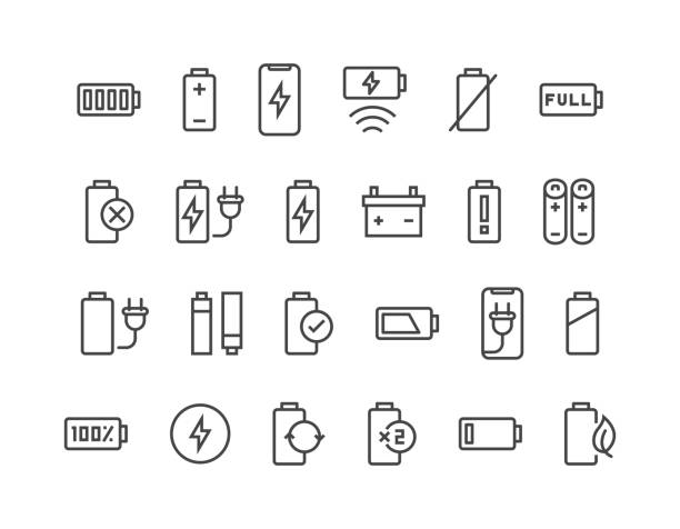 Set of Batteries Related Vector Line Icons. Contains such Icons as Car Charge Station, Recycle, Phone Charging, Battery Life Time and more. Editable Stroke. 48x48 Pixel Perfect eps 10 lithium stock illustrations