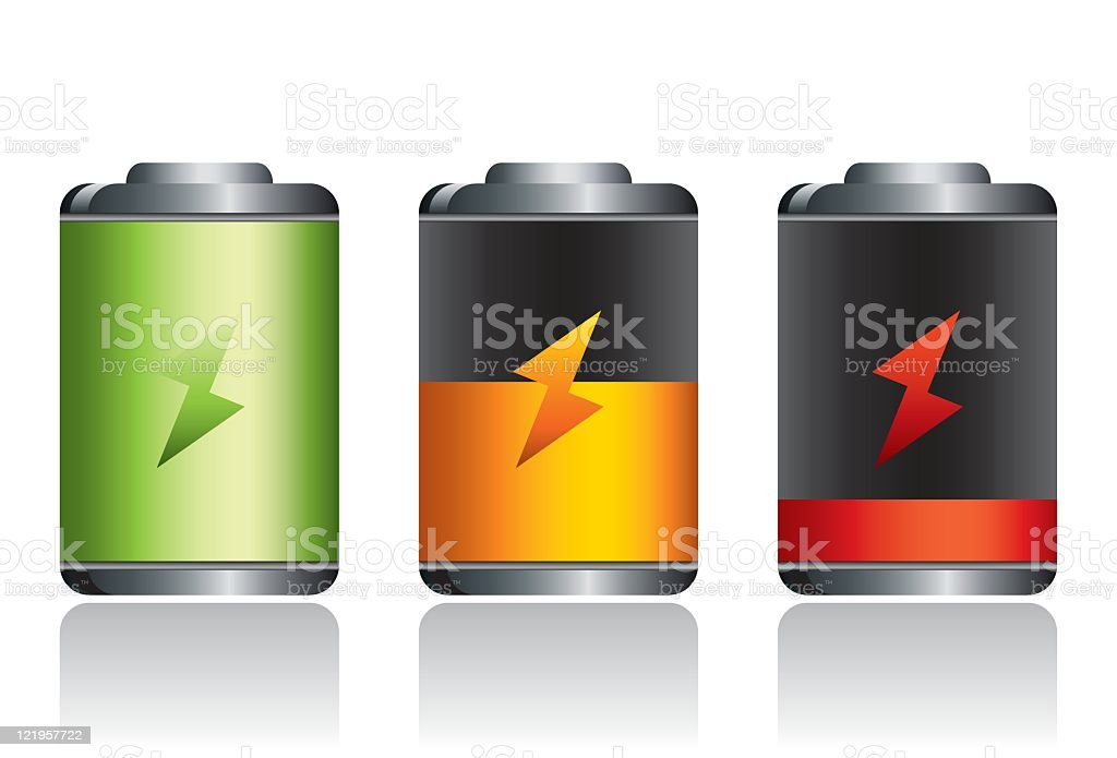 Set of batteries with charging levels royalty-free stock vector art