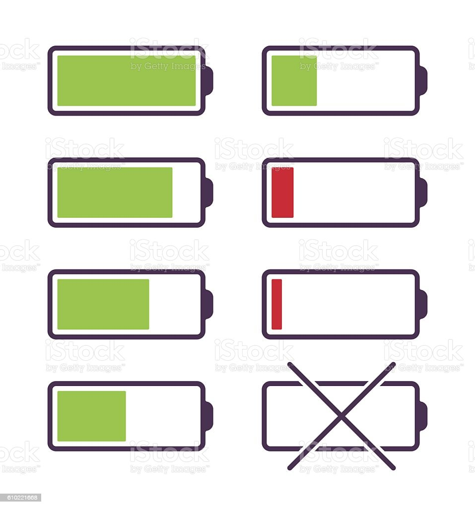 Set of battery charge icons vector art illustration