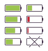 Set of battery charge icons