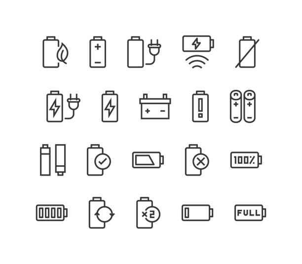 Set of Battery Vector line icons Editable Stroke. 48x48 Pixel Perfect. eps 10 lithium stock illustrations