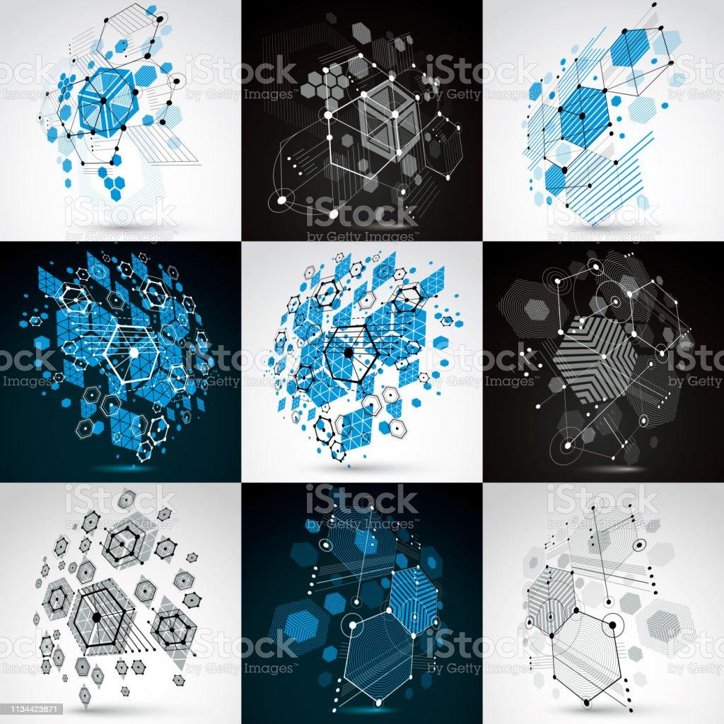 バウハウスのレトロな壁紙グリッドと六角形を使用して作られたアートベクターの背景のセット1960年代の幾何学グラフィックイラストは小冊子表紙デザインとして使用可能 1960 1969年のベクターアート素材や画像を多数ご用意 Istock