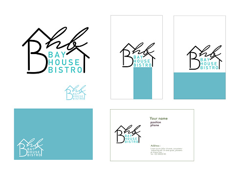 Set of Bay House Bistro logo and card design for business. Logo for Your Restaurant and coffee shop