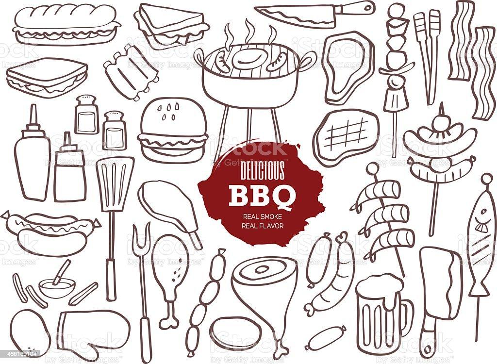 Set of BBQ doodles vector art illustration