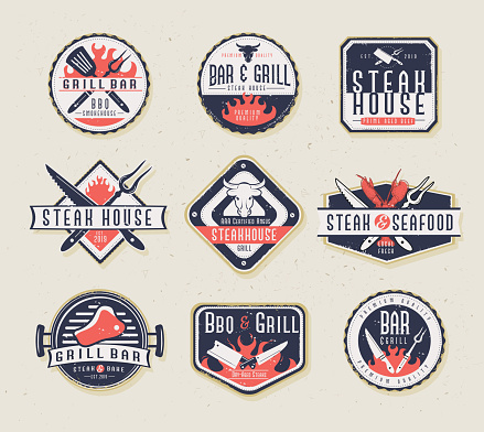 Set of BBQ Labels with unique shapes and text designs as well as grill elements