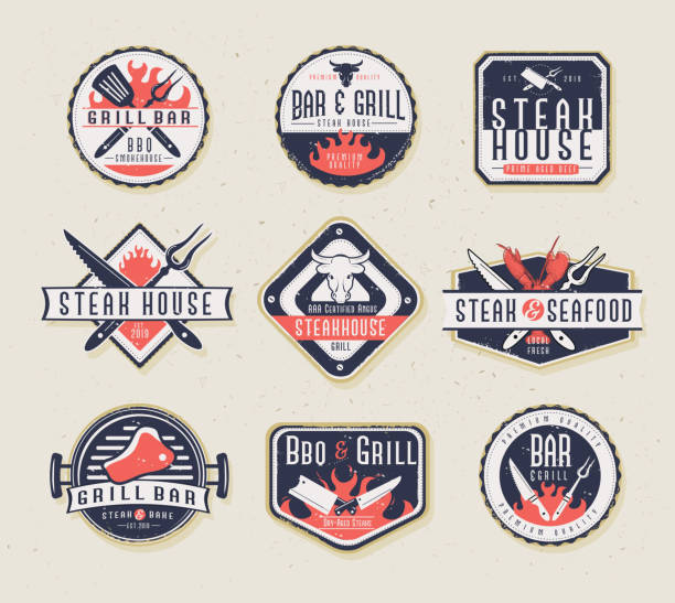 Set of BBQ Labels with unique shapes and text designs as well as grill elements vector art illustration