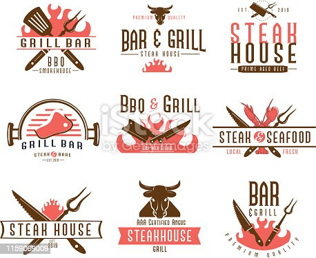 Vector illustration of a set of BBQ Labels with unique shapes and text designs as well as grill elements. Includes Steak House, Grill Bar, BBQ & Grill, Steak and Seafood text designs as well as steak knife, steak, flames, lobster and bbq utensils. Unique set of badges. Fully editable EPS 10.