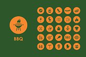Set of BBQ simple icons