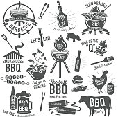 Vector illustration. Set, BBQ, badge, logo, icon, beer can chicken, chicken, barbecue, barbeque, flame, grill, text, label, set, black and white, fork, shish kebab, beer, summer, celebration, salad, ribs, braising, hot sauce, bbq sauce, hamburger, hotdog, spatula, steer, beef, poultry