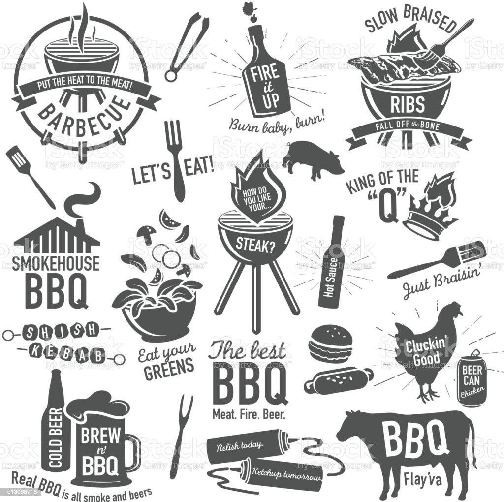 Conjunto de iconos de barbacoa con etiquetas con las frases o refranes - ilustración de arte vectorial