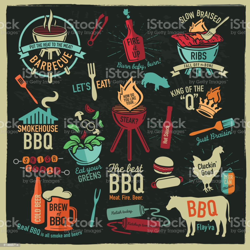 Set of BBQ themed icons labels with phrases or sayings royalty-free set of bbq themed icons labels with phrases or sayings stock vector art & more images of badge