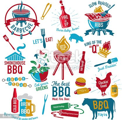 Vector illustration. Set of colorful BBQ icons labels with phrases or sayings.