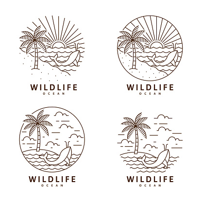 Set of beach and whale illustration monoline or line art style